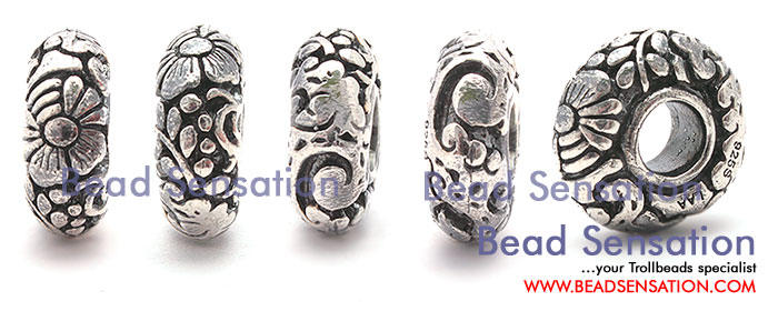 Trollbeads Limited Edition China Silver Clouds and Flower