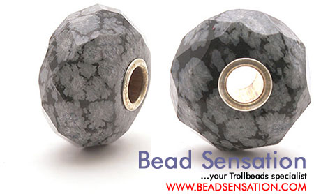 Trollbeads Limited Edition Gemstone Faceted Snowflake Obsidian